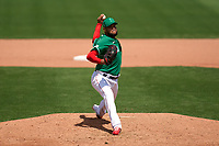 Boston Red Sox pitcher Eduardo Rodriguez (57) during a Major League Spring Training game against the Minnesota Twins on March 17, 2021 at JetBlue Park in Fort Myers, Florida.  (Mike Janes/Four Seam Images)