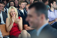 Moscow, Russia, 06/09/2011..Students and staff at the Economics Faculty listen to Russian billionaire businessman Mikhail Prokhorov, newly elected leader of pro-business political party Right Cause, during a meeting at the Moscow State University.
