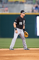 Chicago White Sox shortstop Gordon Beckham (15) on defense against the Charlotte Knights at BB&T Ballpark on April 3, 2015 in Charlotte, North Carolina.  The Knights defeated the White Sox 10-2.  (Brian Westerholt/Four Seam Images)