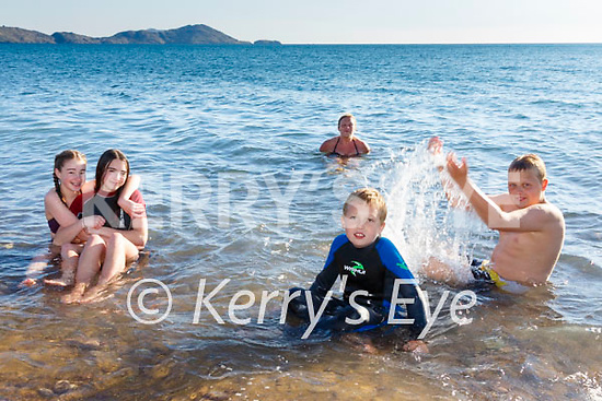 Fun in the Sea at Waterville Beach on Monday pictured here front l-r; Maeve & Maddie Courtney, Igor Bilski, Kuba Gwis and back; Marta Nowak.