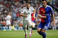 Benzema of Real Madrid and Xhaka of FC Basel 1893 during the Champions League group B soccer match between Real Madrid and FC Basel 1893 at Santiago Bernabeu Stadium in Madrid, Spain. September 16, 2014. (ALTERPHOTOS/Caro Marin) /NortePhoto.com