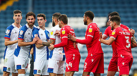 Players from both sides tussle as a corner comes in<br /> <br /> Photographer Alex Dodd/CameraSport<br /> <br /> The EFL Sky Bet Championship - Blackburn Rovers v Nottingham Forest - Saturday 17th October 2020 - Ewood Park - Blackburn<br /> <br /> World Copyright © 2020 CameraSport. All rights reserved. 43 Linden Ave. Countesthorpe. Leicester. England. LE8 5PG - Tel: +44 (0) 116 277 4147 - admin@camerasport.com - www.camerasport.com