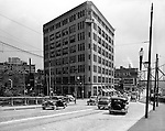 Pittsburgh PA:  View looking south on Water Street toward the Point Building and Penn Avenue.  Abbott Laboratories was the major client in the building.  The building was located close to the Point and Manchester Bridges.