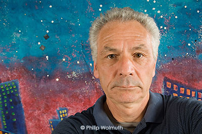 Philip Wolmuth, self-portrait at work: lighting test