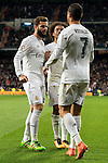 Real Madrid's Nacho Fernandez Iglesias, Marcelo Vieira and Cristiano Ronaldo celebrating a goal during La Liga match. March 20,2016. (ALTERPHOTOS/Borja B.Hojas)