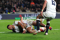 Joe Cokanasigaof England is stopped just short of the tryline during the Quilter International match between England and Australia at Twickenham Stadium on Saturday 24th November 2018 (Photo by Rob Munro/Stewart Communications)