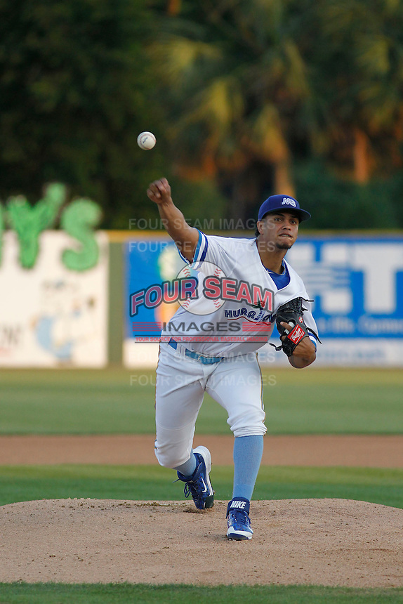 Myrtle Beach Pelicans pitcher Fernando Cruz (9) on the mound during game two of a doubleheader against the Carolina Mudcats at Ticketreturn.com Field at Pelicans Ballpark on June 6, 2015 in Myrtle Beach, South Carolina. During the game the Pelicans wore special Myrtle Beach Hurricanes throwback jerseys. The Myrtle Beach Hurricanes were a minor league team affiliated with the Toronto Blue Jays who played on the Grand Strand during the early 1990's. Carolina defeated Myrtle Beach 4-2. (Robert Gurganus/Four Seam Images)