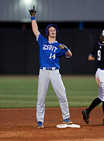 Jesuit Tigers Tyler Corish (14) gestures to teammates during a game against the IMG Academy Ascenders on April 21, 2021 at IMG Academy in Bradenton, Florida.  (Mike Janes/Four Seam Images)
