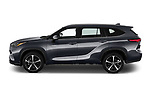 Car Driver side profile view of a 2021 Toyota Highlander Premium-Plus 5 Door SUV Side View