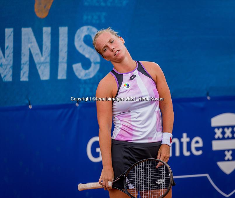 Amstelveen, Netherlands, 7 Juli, 2021, National Tennis Center, NTC, Amstelveen Womans Open, Richel Hogenkamp (NED) is frustrated in her match afainst Lemoine<br /> Photo: Henk Koster/tennisimages.com