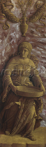 Full title: The Vestal Virgin Tuccia with a sieve<br /> Artist: Andrea Mantegna<br /> Date made: about 1495-1506<br /> The National Gallery, London