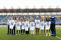 SAN JOSE, CA - JULY 27: Pre-game, Danielle Slaton, Sophie Jones, Brandi Chastain during a Major League Soccer (MLS) match between the San Jose Earthquakes and the Colorado Rapids on July 27, 2019 at Avaya Stadium in San Jose, California.