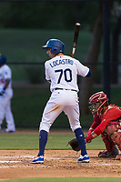 AZL Dodgers designated hitter Tim Locastro (70) at bat during rehab assignment in an Arizona League game against the AZL Angels at Camelback Ranch on July 8, 2018 in Glendale, Arizona. The AZL Dodgers defeated the AZL Angels by a score of 5-3. (Zachary Lucy/Four Seam Images)