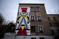 """Graffiti dedicated to Vittorio 'Victor' Vitolo, AKA Cavallo (Poet, Author, Director).<br /> <br /> Rome, 12/12/2020. Today, Movements, Citizens, Social Centers, Associations, Antifascists, state school and university Students, Housing Rights Groups, led by the Trade Union USB, held a protest (1.) which started from Garbatella District to end outside the Lazio Region HQ to urgently call the Local Institutions and the Italian Government to do more and quickly to support the workers in this """"second wave"""" of the pandemic Covid-19/Coronavirus, to create a National Basic Income, to make a """"patrimoniale"""" (wealth tax), to make a """"Webtax"""" for the Internet's giants corporations, to stop the rent of houses and shops and the universities' taxes, to increase investments in the SSN (Italian National Health Service), to stop evictions. Protesters call the Government and the President of the Lazio Region, Nicola Zingaretti (also leader of the Democratic Party PD), to give a structural answer to longstanding problems linked to austerity and precarious work, such as invisibility, poverty, black markets, """"caporalato"""" (illegal hiring), housing crisis, social and economic exclusion and exploitation."""