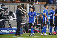 SAN JOSE, CA - MAY 1: San Jose Earthquakes head coach Matias Almeyda shakes hands with Eduardo Lopez #9 during a game between D.C. United and San Jose Earthquakes at PayPal Park on May 1, 2021 in San Jose, California.