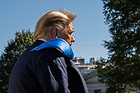 United States President Donald J. Trump walks to Marine One on the South Lawn of the White House on Thursday, October 15, 2020. Trump will deliver remarks at a Fundraising Committee Reception in Doral, Florida and participate in a Live NBC News Town Hall Event.    <br /> Credit: Ken Cedeno / Pool via CNP /MediaPunch