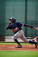 GCL Braves right fielder Raysheandall Michel (82) at bat during a game against the GCL Phillies on August 3, 2016 at the Carpenter Complex in Clearwater, Florida.  GCL Phillies defeated GCL Braves 4-3 in a rain shortened six inning game.  (Mike Janes/Four Seam Images)