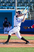 Casey Gillaspie (43) of the Hudson Valley Renegades follows through on his swing against the Brooklyn Cyclones at Dutchess Stadium on June 18, 2014 in Wappingers Falls, New York.  The Cyclones defeated the Renegades 4-3 in 10 innings.  (Brian Westerholt/Four Seam Images)