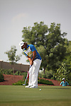 Dubai World Championship Golf. Earth Course,.Jumeirah Golf Estate, Dubai, U.A.E...John Edfors lines up his putt on the third green during the second round of the Dubai World Golf championship..Photo: Fran Caffrey/www.golffile.ie...