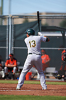Oakland Athletics Edwin Diaz (13) during an instructional league game against the San Francisco Giants on October 12, 2015 at the Giants Baseball Complex in Scottsdale, Arizona.  (Mike Janes/Four Seam Images)