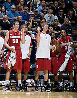 STANFORD, CA - January 29th, 2012: Stanford players celebrate during a basketball game against California at Haas Pavilion in Berkeley, California.   California won 69-59 against Stanford.