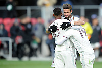 WASHINTON, DC - FEBRUARY 29: Washington, D.C. - February 29, 2020: Kellyn Acosta #10 of the Colorado Rapids celebrates with teammates Drew Moor #3 and Jack Price #19. The Colorado Rapids defeated D.C. United 2-1 during their Major League Soccer (MLS)  match at Audi Field during a game between Colorado Rapids and D.C. United at Audi FIeld on February 29, 2020 in Washinton, DC.