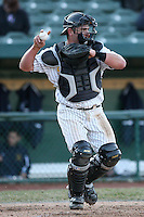 April 4, 2008:  South Bend Silver Hawks starting catcher Konrad Schmidt (19)  against the West Michigan Whitecaps at Coveleski Stadium in South Bend, IN.  Photo by: Chris Proctor/Four Seam Images