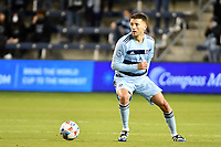 KANSAS CITY, KS - MAY 9: Ilie Sanchez #6 Sporting KC with the ball during a game between Austin FC and Sporting Kansas City at Children's Mercy Park on May 9, 2021 in Kansas City, Kansas.