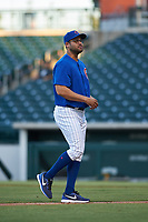 AZL Cubs 1 pitching coach Anderson Tavares (35) during an Arizona League game against the AZL Athletics Gold at Sloan Park on June 20, 2019 in Mesa, Arizona. AZL Athletics Gold defeated AZL Cubs 1 21-3. (Zachary Lucy/Four Seam Images)