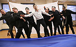 """Kevin Kern, John Treacy Egan, Corey Cott, Tony Yazbeck,  Eliseo Roman, Chris Dwan and Alex Newell during a Performance Sneak Peek of The MCP Production of """"The Scarlet Pimpernel"""" at Pearl Rehearsal studio Theatre on February 14, 2019 in New York City."""
