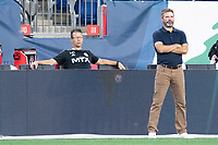 FOXBOROUGH, MA - JUNE 26: Michael Gerbini assistant coach of North Texas SC and Eric Quill head coach of North Texas SC during a game between North Texas SC and New England Revolution II at Gillette Stadium on June 26, 2021 in Foxborough, Massachusetts.