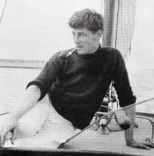 Colm O Lochlainn in Howth aboard his 9-ton yawl Klysma in the 1920s. A man of many parts, he was a sailor, printer, folklorist, and traditional musician who for many years was a professor in UCD