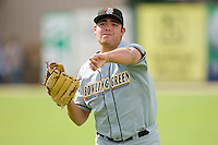 Matt Moore #36 of the Bowling Green Hot Rods warms up in the outfield at Fieldcrest Cannon Stadium August 23, 2009 in Kannapolis, North Carolina. (Photo by Brian Westerholt / Four Seam Images)