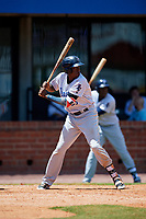 Pensacola Blue Wahoos left fielder Gabriel Guerrero (23) at bat during a game against the Mobile BayBears on April 26, 2017 at Hank Aaron Stadium in Mobile, Alabama.  Pensacola defeated Mobile 5-3.  (Mike Janes/Four Seam Images)