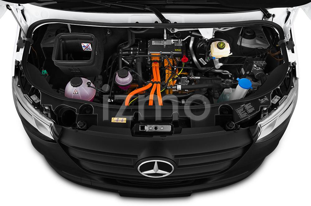 Car Stock 2021 Mercedes Benz eSprinter - 4 Door Cargo Van Engine  high angle detail view