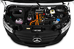 Car Stock 2021 Mercedes Benz eSprinter - 4 Door Cargo Van Engine  high angle detail view