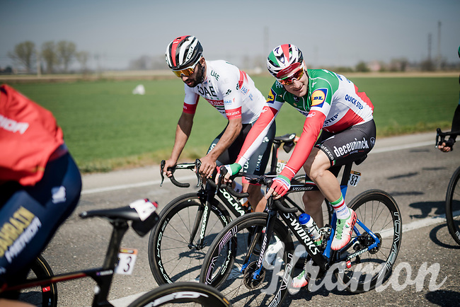 Elia VIVIANI (ITA/Deceuninck-Quick Step) brushin' up to Fernando Gaviria (COL/UAE-Emirates)<br /> <br /> 110th Milano-Sanremo 2019 (ITA)<br /> One day race from Milano to Sanremo (291km)<br /> <br /> ©kramon