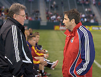 Head Coaches John Ellinger (L) of Real Salt Lake and Preki (R) of Chivas USA before the game. Chivas USA beat RSL 4-0 at the Home Depot Center Saturday, April 21, 2007.
