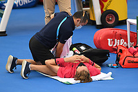 DELRAY BEACH, FLORIDA - JANUARY 13: Sebastian Korda takes a medical timeout during the Finals of the Delray Beach Open at Delray Beach Tennis Center on January 13, 2021 in Delray Beach, Florida.. Credit: mpi04/MediaPunch