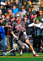 17 March 2012: Sacred Heart University Pioneer Defender Andrew Newbold, a Sophomore from Loveland, OH, in action against the University of Vermont Catamounts at Virtue Field in Burlington, Vermont. The visiting Pioneers rallied to tie the score at 11 with five unanswered goals, dominating the 4th period. However the Cats scored with only 10 seconds remaining in the game to defeat the Pioneers 12-11 in their non-conference matchup. Mandatory Credit: Ed Wolfstein Photo