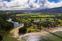 Hanalei River, Pier and Beach on a sunny day in Kaua'i.