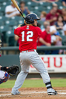 Oklahoma City RedHawks outfielder Preston Tucker (12) at bat during the Pacific Coast League baseball game against the Round Rock Express on August 1, 2014 at the Dell Diamond in Round Rock, Texas. The Express defeated the RedHawks 6-5. (Andrew Woolley/Four Seam Images)