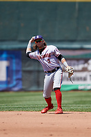 Harrisburg Senators second baseman Dante Bichette (2) throws to first base during an Eastern League game against the Erie SeaWolves on June 30, 2019 at UPMC Park in Erie, Pennsylvania.  Erie defeated Harrisburg 4-2.  (Mike Janes/Four Seam Images)