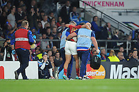 Yoann Huget of France leaves the pitch injured during Match 5 of the Rugby World Cup 2015 between France and Italy - 19/09/2015 - Twickenham Stadium, London <br /> Mandatory Credit: Rob Munro/Stewart Communications