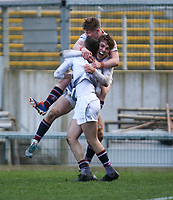 Tuesday 3rd March 2020 | RSA vs RBAI<br /> <br /> Armagh players celebrate Ethan McAtarsney's match winning try during the Ulster Schools' Cup Semi-Final between Royal School Armagh and RBAI at Kingspan Stadium, Ravenhill Park, Belfast, Northern Ireland. Photo by John Dickson / DICKSONDIGITAL