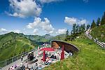 Austria, Vorarlberg, Kleinwalsertal, Mittelberg: view terrace at Walmendingerhorn upper station with view into the Allgaeu Alps | Oesterreich, Vorarlberg, Kleinwalsertal, Mittelberg: Aussichtsterrasse der Bergstation Walmendingerhorn mit Blick in die Allgaeuer Alpen