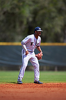 FIU Panthers shortstop John Rodriguez (7) during a game against the South Dakota State Jackrabbits on February 23, 2019 at North Charlotte Regional Park in Port Charlotte, Florida.  South Dakota defeated FIU 4-3.  (Mike Janes/Four Seam Images)