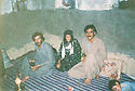 Iran 1988 .In Kani Zad near Sardasht, rest in a room, with from right to left, Halo, Tamina Mahmoud and Osman, brother of Mahmoud Sangawy  .Iran 1988 .In Kani Zad, near Sardasht, dans une chambre, de droite a gauche, Halo, Tamina Mahmoud et Osman , frere de Mahmoud Sangawy