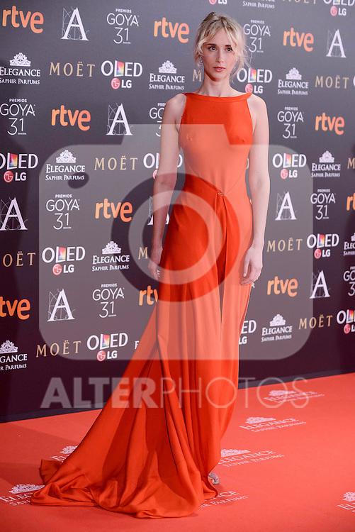Ingrid Garcia Jonsson attends to the Red Carpet of the Goya Awards 2017 at Madrid Marriott Auditorium Hotel in Madrid, Spain. February 04, 2017. (ALTERPHOTOS/BorjaB.Hojas)