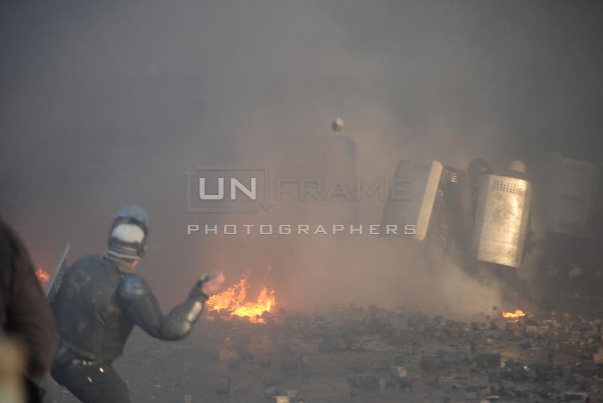 Pave stones hailing to regain the Maidan Square. Kiev, Ukraine